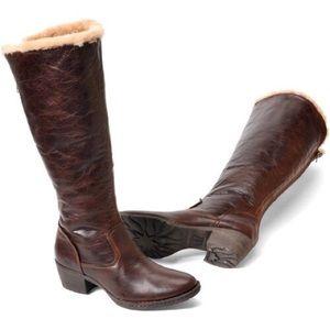 Born Aleksi Shearling + Leather Tall Heeled Boot